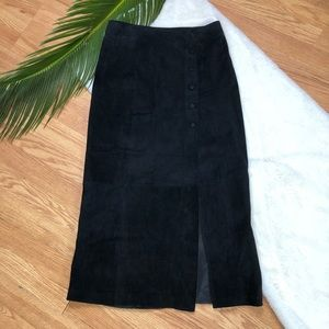 🎄 Vintage B.B. Dakota Suede Button Midi Skirt